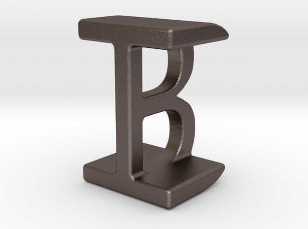 Two way letter pendant - BI IB in Polished Bronzed Silver Steel