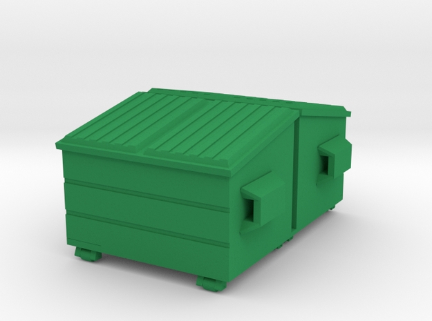 Dumpster 'O' 48:1 Scale (2) in Green Processed Versatile Plastic