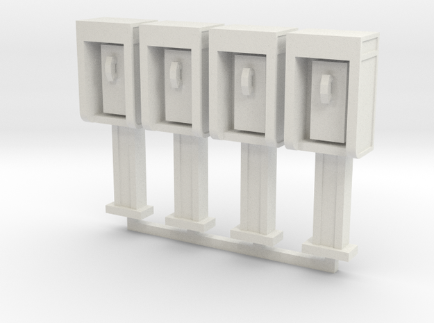 Phone Booth in HO Scale, 4 pack in White Natural Versatile Plastic