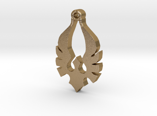 Blood Knight Crest  Pendent size in Polished Gold Steel