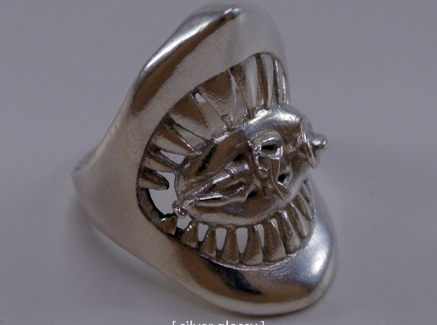 Jaws ring in Polished Nickel Steel