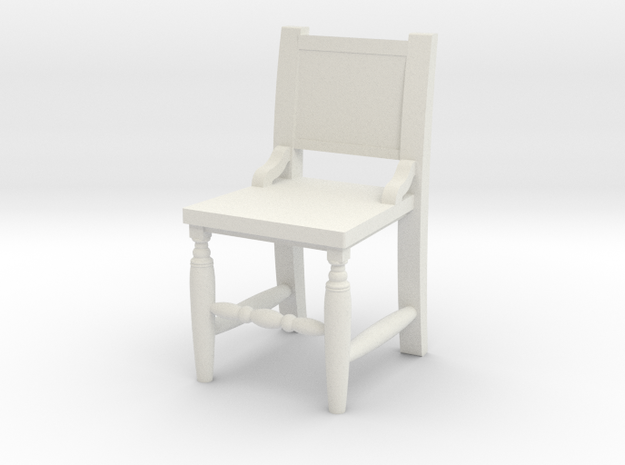 Miniature 1:48 Congressional Chair in White Natural Versatile Plastic