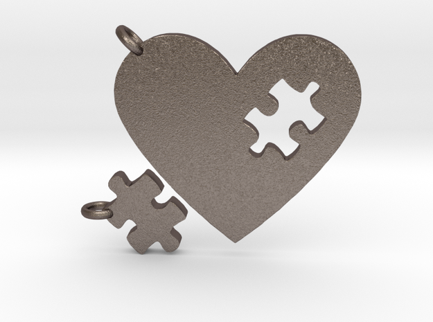 Heart Puzzle Keychains in Polished Bronzed Silver Steel