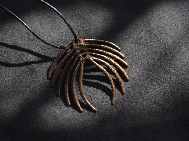 Abstract Feather Pendant in Polished Bronze Steel