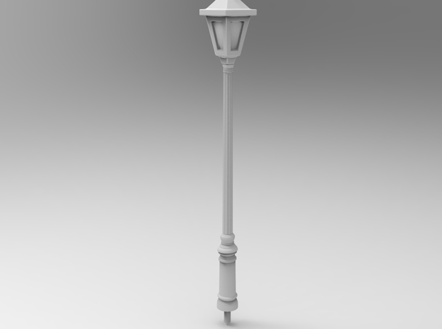 StreetLamp 01. HO Scale (1:87) in White Strong & Flexible: 1:64