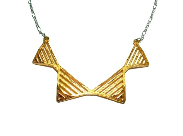 Geo Fysique Necklace in Polished Bronzed Silver Steel