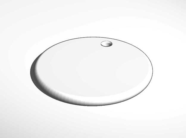 keychain tag round flat engrave in White Natural Versatile Plastic