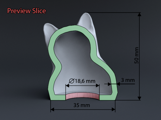 Cat Gasp (5 cm/2 inch) 3d printed Preview Slice