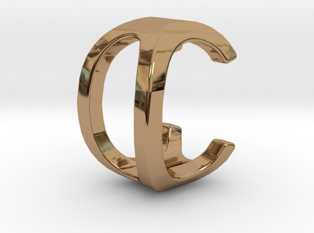 Two way letter pendant - C0 0C in Polished Brass