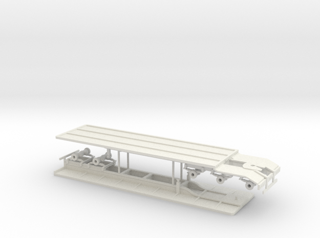1/50 set of Super B Flatbed Trailers in White Natural Versatile Plastic