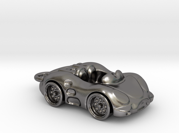 Car Key Chain in Polished Nickel Steel