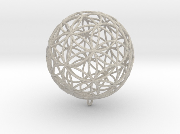 Pendant 55mm Flower Of Life in Sandstone
