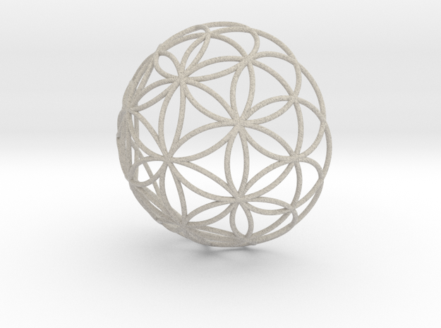 3D 200mm Half Orb of Life (3D Flower of Life)  in Sandstone