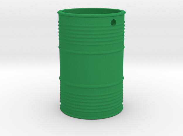 Steel Barrel Keychain in Green Processed Versatile Plastic