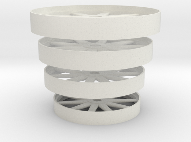 Steam Era Flywheels -  4 sizes in White Natural Versatile Plastic