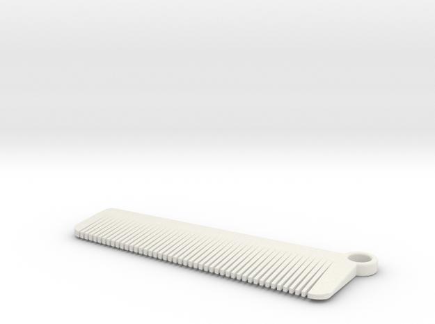 Keychain Comb in White Natural Versatile Plastic