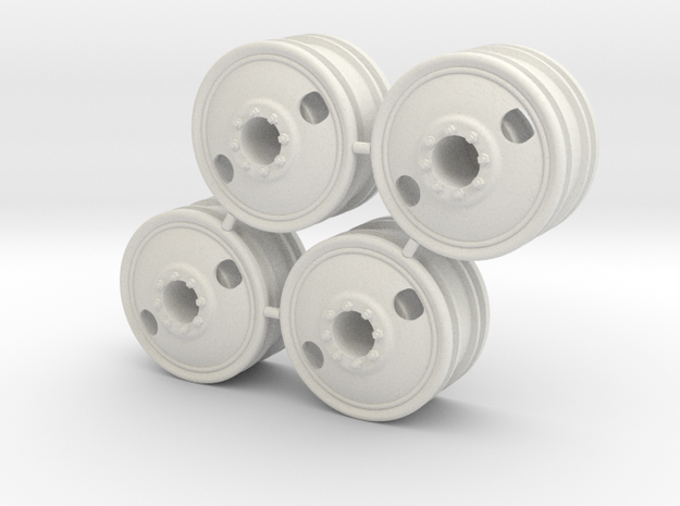 Rim Big Truck-A 4x4 Front Set - Losi McRC/Trekker in White Strong & Flexible