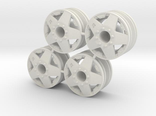 Rim Rockstar 4x4 Front Set - Losi McRC/Trekker in White Natural Versatile Plastic