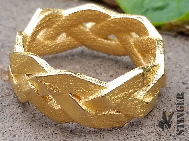 Braided Polygon Ring Size 7 in Polished Gold Steel