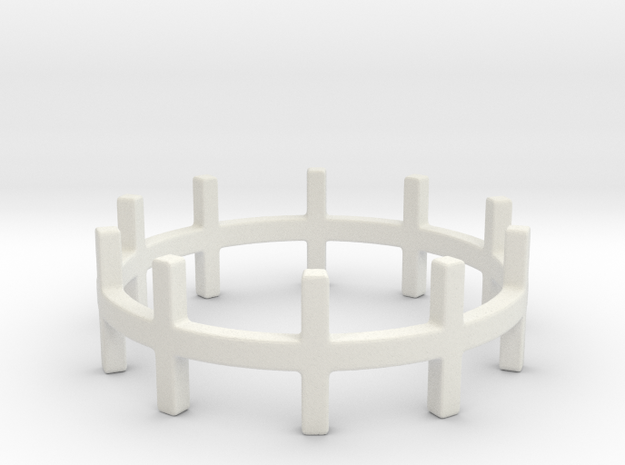 Crossed Ring Ring Size 7 in White Strong & Flexible
