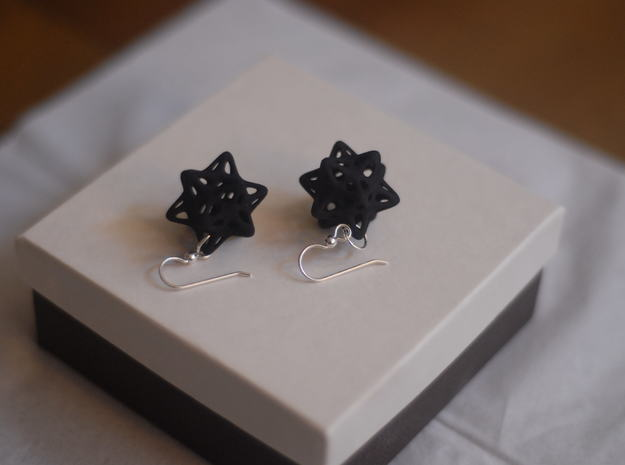 Ball captured in Stellated Dodecahedron Earrings