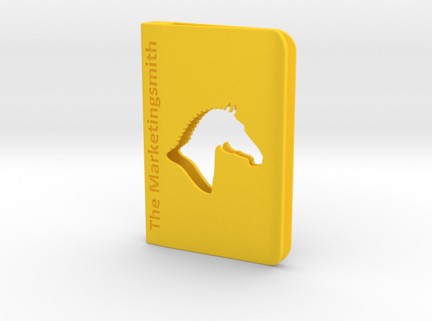 Branded Square Business Card Holder Clip Style in Yellow Strong & Flexible Polished