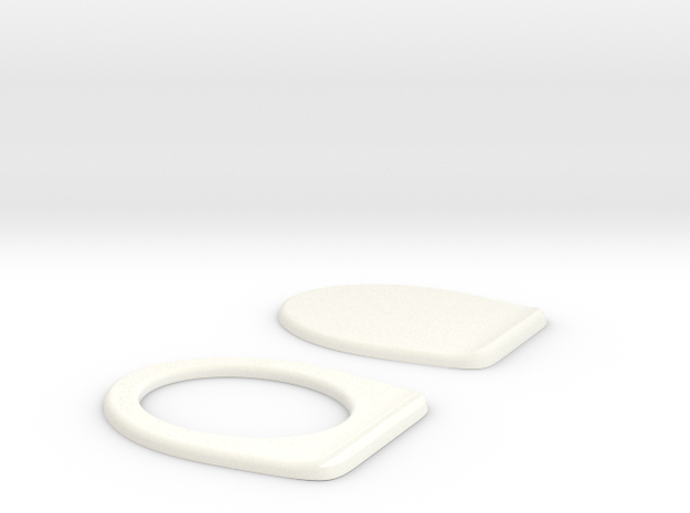 Miniature Toilet Seat B 1/12 in White Processed Versatile Plastic