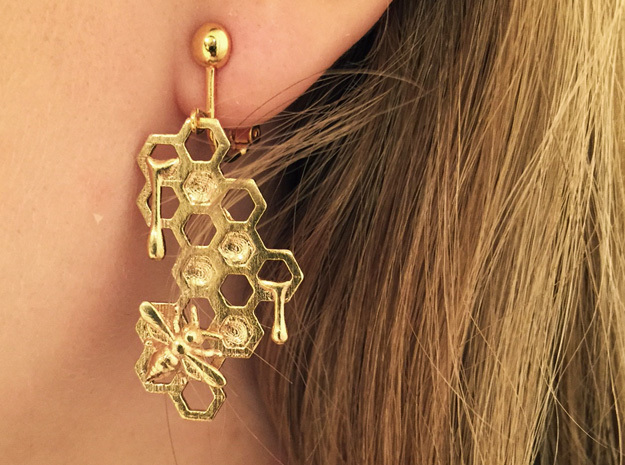 Honey Comb Earring Set in Natural Brass