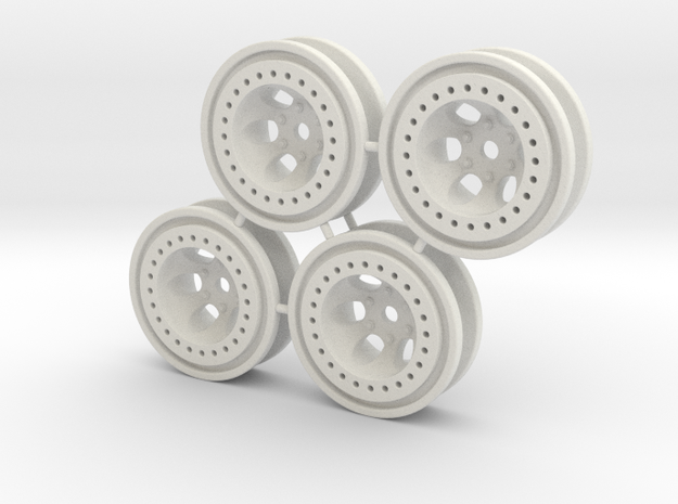 "Bead-lock 1/8"" offset 7mm hex - Losi McRC/Trekker in White Natural Versatile Plastic"