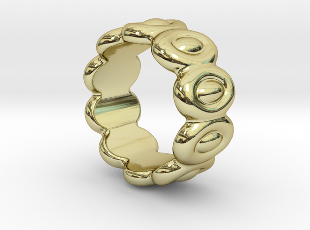 Elliptic Ring 14 - Italian Size 14 in 18k Gold Plated Brass