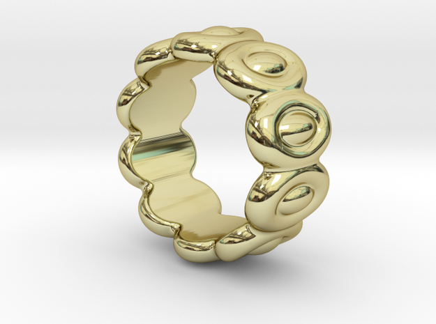 Elliptic Ring 19 - Italian Size 19 in 18k Gold Plated Brass