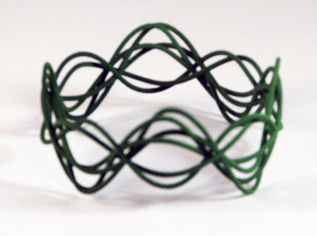 Wave Bangle B02M in Green Strong & Flexible Polished