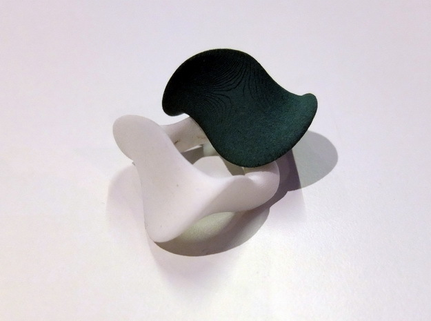 """""""Waves"""" ...  Left Hand Ring in Black Strong & Flexible"""