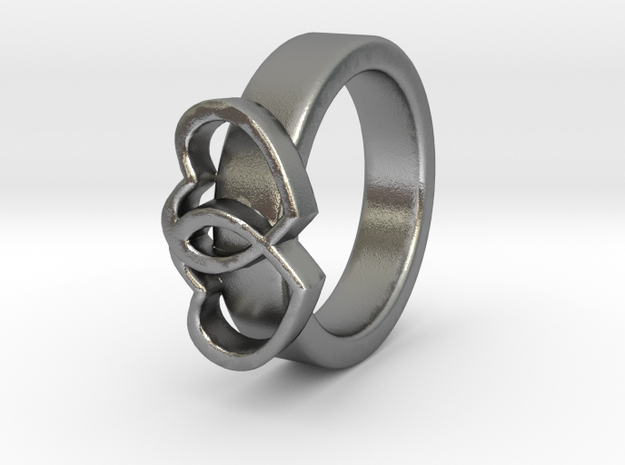 Ø15.40mm - Ø0.606inch Double Hearts Model D in Natural Silver