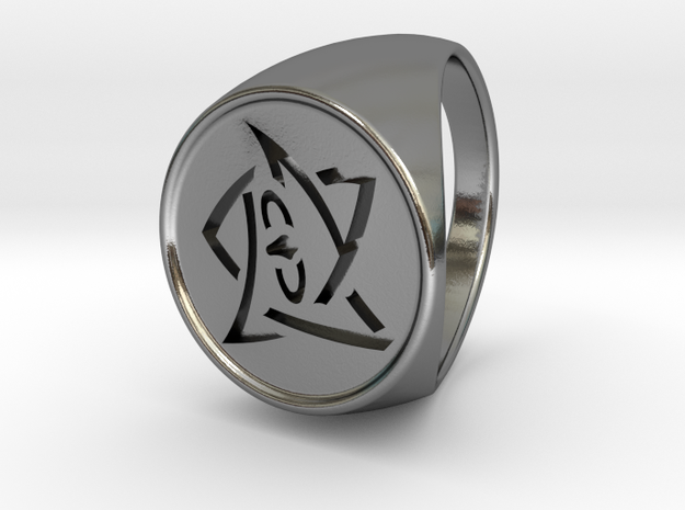 Elder Sign Ring Size 10.5 in Polished Silver