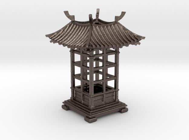 Japanese Pavilion Incense Burner in Polished Bronzed Silver Steel