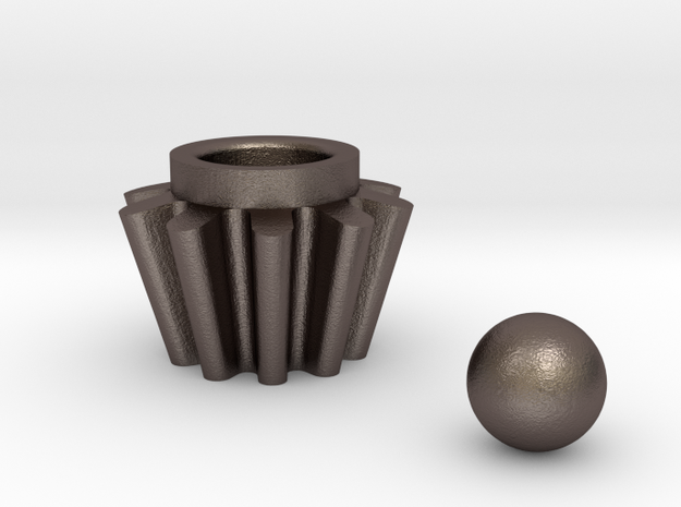 Straight Bevel Gear For Roller Shutters+spherical  in Polished Bronzed Silver Steel