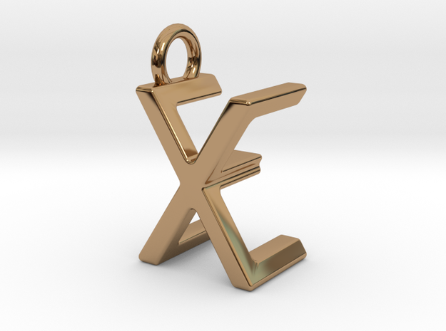 Two way letter pendant - EX XE in Polished Brass