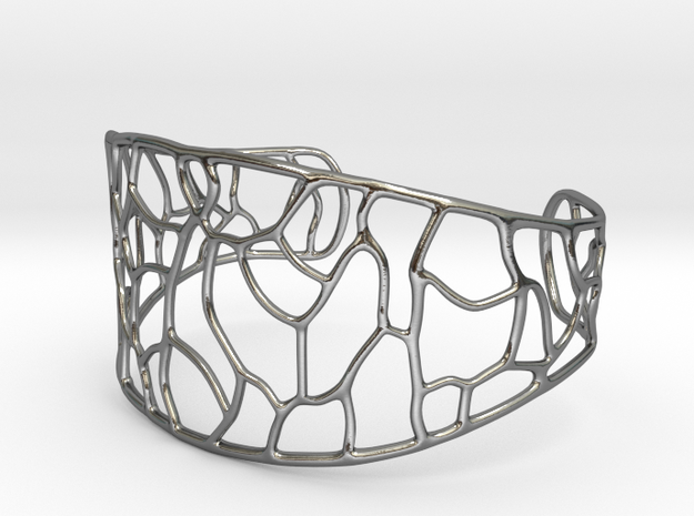 Bracelet abstract #3 in Polished Silver
