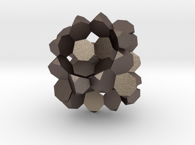 Heptagon-3D-Fill big in Polished Bronzed Silver Steel
