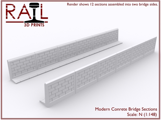 12 Concrete Bridge Sections - N Scale in Smooth Fine Detail Plastic