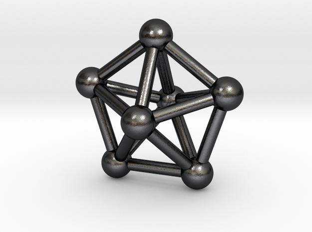 0309 Pentagonal Bipyramid J13 V&E (a=1cm) #003 in Polished and Bronzed Black Steel