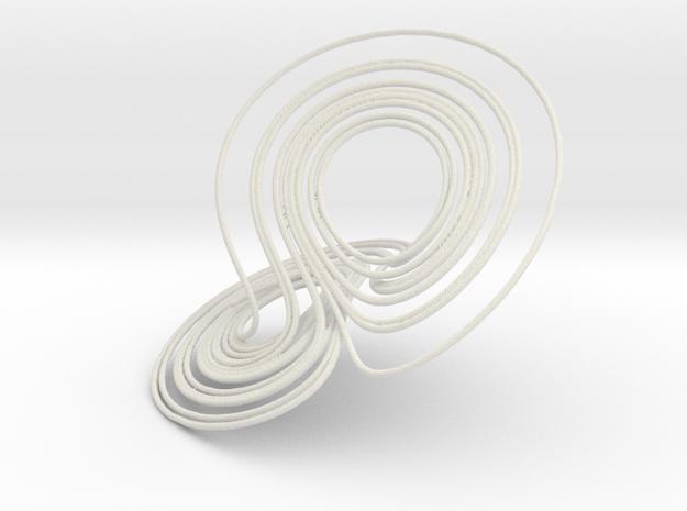 Lorenz Attractor, large in White Natural Versatile Plastic