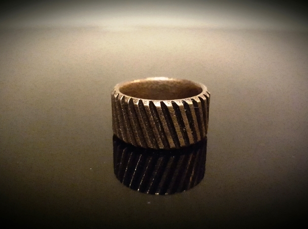Gear Cog Fashion Ring Size 12 in Polished Bronze Steel