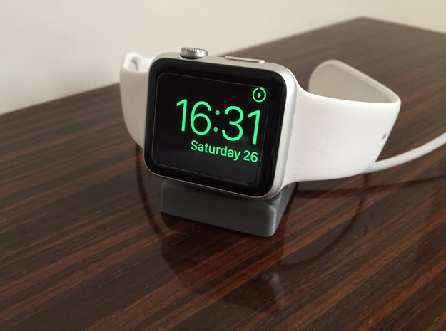 Compact Apple Watch Stand in White Strong & Flexible