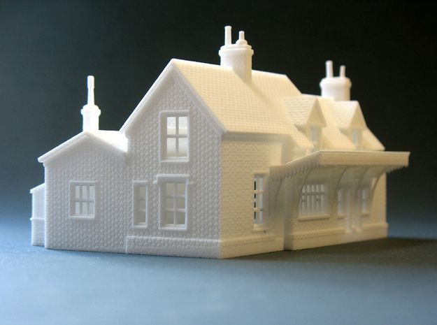N Scale Wool Railway Station building 1:148  in White Natural Versatile Plastic