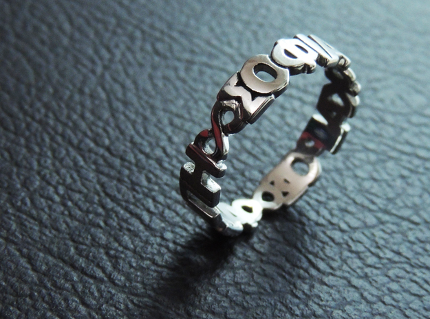 "Ring ""Agape Sofia Kairos"" Size 10.5 in Rhodium Plated"