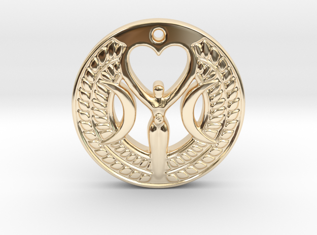 Triple Moon Goddess in 14k Gold Plated Brass