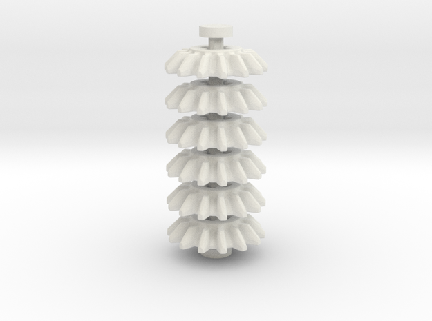 14z Bevel Gear, 6 piece set in White Natural Versatile Plastic