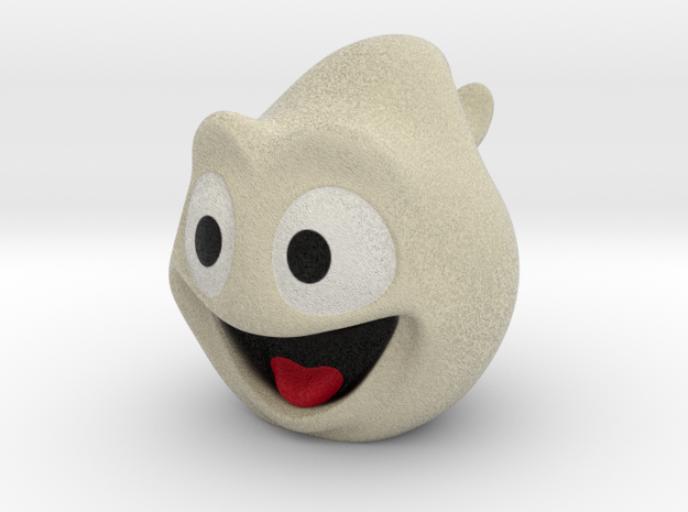 Halloween Ghost Head Smiling Off-White Large in Full Color Sandstone